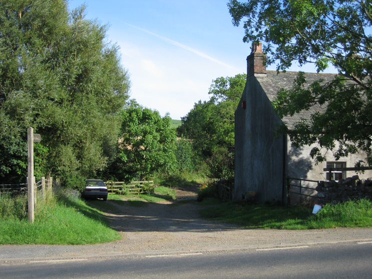 The start of the footpath leaving the A595 at Bothel