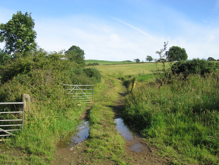 The route through the fields up onto the fell