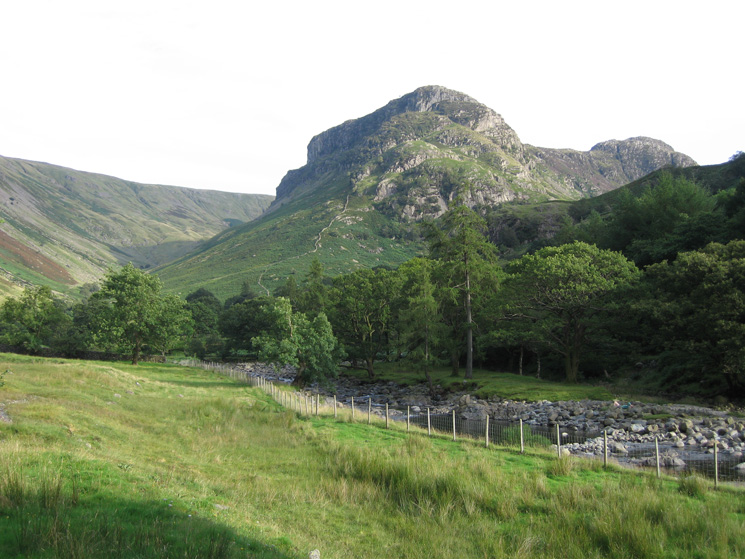 Eagle Crag with Sergeant's Crag on the right from the path next to Stonethwaite Beck
