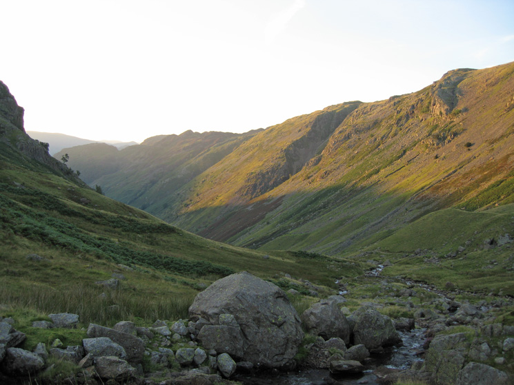 Shadow and evening light as we cross Greenup Gill