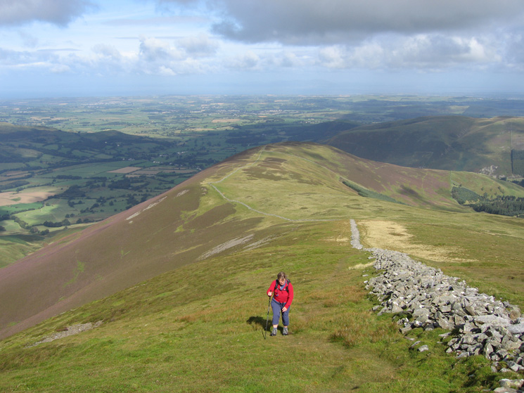 Looking back down the ridge to Swinside as we ascend Ladyside Pike