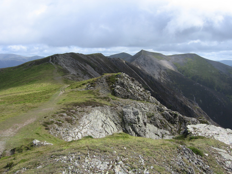 Looking back along the ridge to Hopegill Head from Whiteside's summit