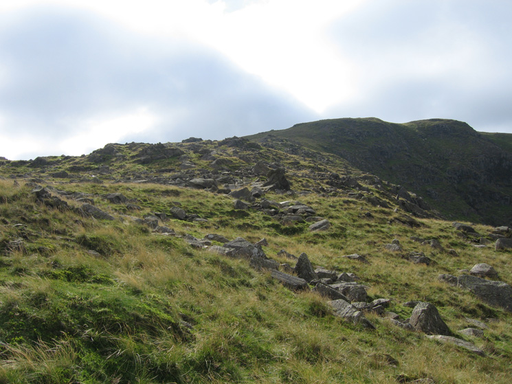 They way ahead to Mardale Ill Bell's summit, the steep part over