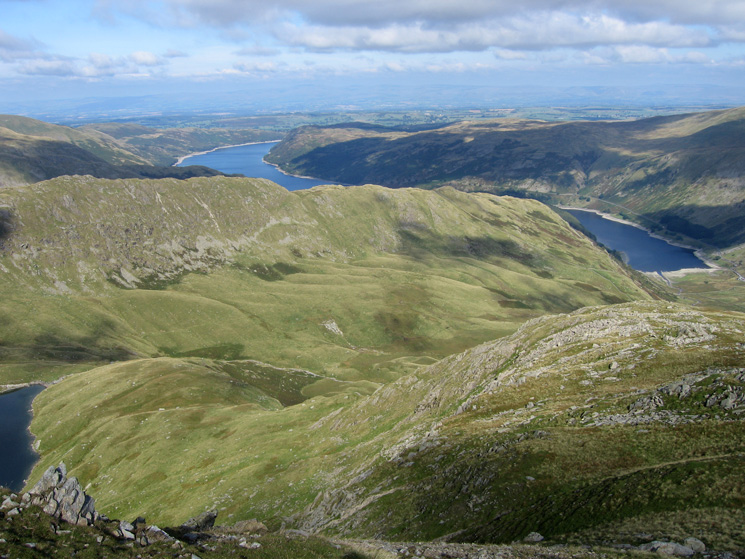 Mardale Ill Bell's north ridge and Blea Water below, the Rough Crag ridge and Haweswater