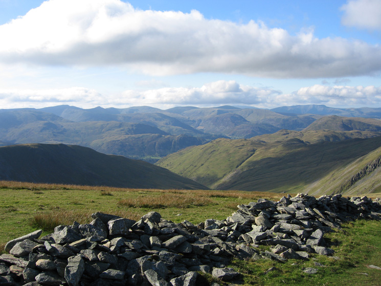 Looking across to Helvellyn, the Dodds and Blencathra from High Street