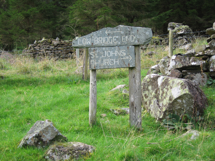 Sign on the bridleway, we are heading from the church to the teas at Low Bridge End Farm!
