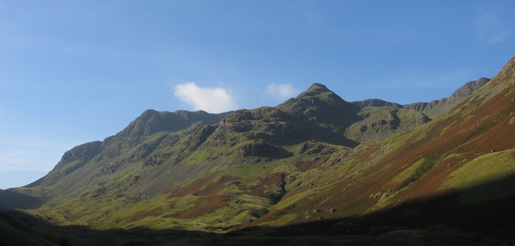 The east ridge of Nethermost Pike right of centre with Dollywaggon Pike on the left from Grisedale