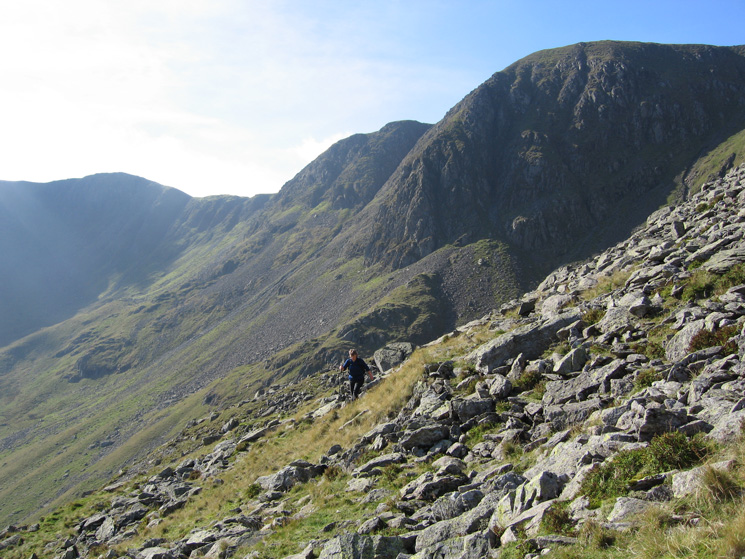 Traversing across to Nethermost Pike's east ridge from Hard Tarn
