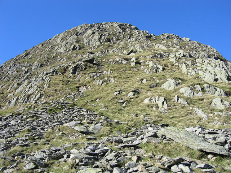 The steep part of Nethermost Pike's east ridge
