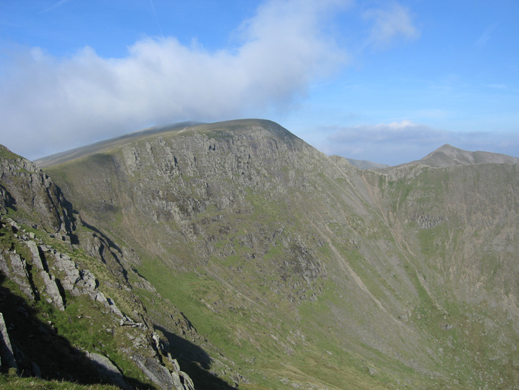 Looking across to Helvellyn from Nethermost Pike's east ridge, the pointed Catstycam on the right