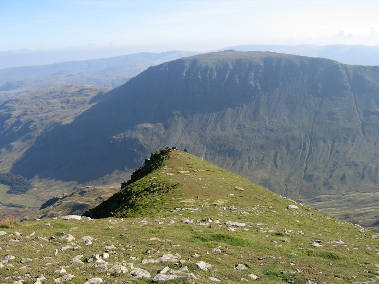 Looking back to the top part of Nethermost Pike's east ridge with Saint Sunday Crag behind on the far side of Grisedale