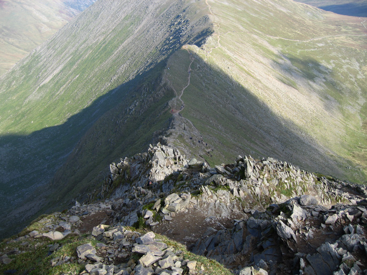 Looking down Swirral Edge