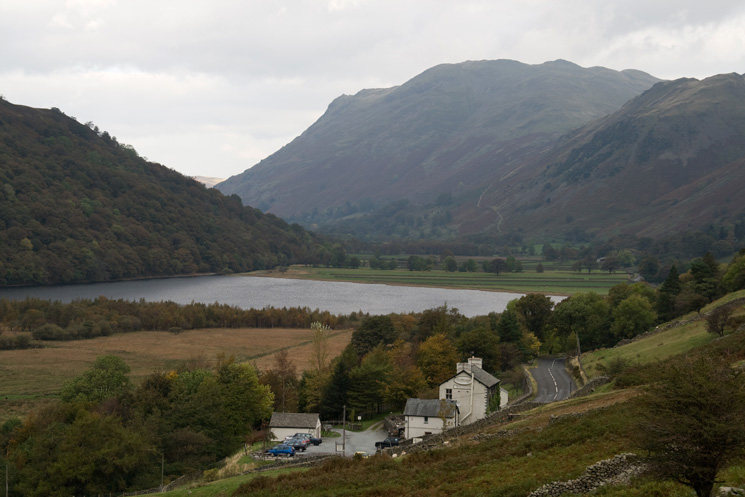 Brotherswater Inn with Brothers Water and Place Fell behind