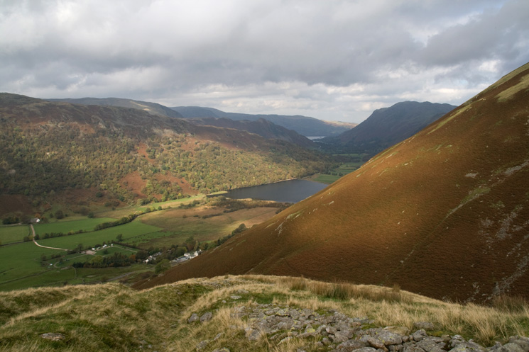 The view north to Brothers Water and a glimpse of Ullswater from the path up to Caudale Quarry