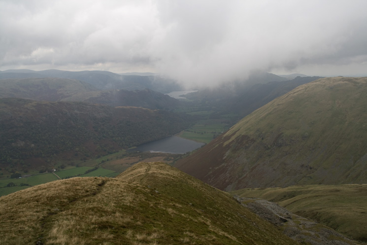 Brothers Water and Ullswater from Rough Edge, above Caudale Quarry (bottom right)