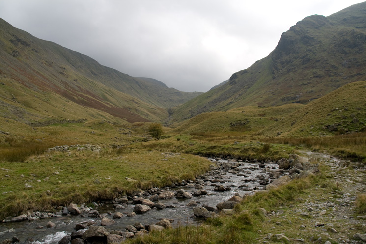 Looking back up Pasture Beck with Raven Crag on the right