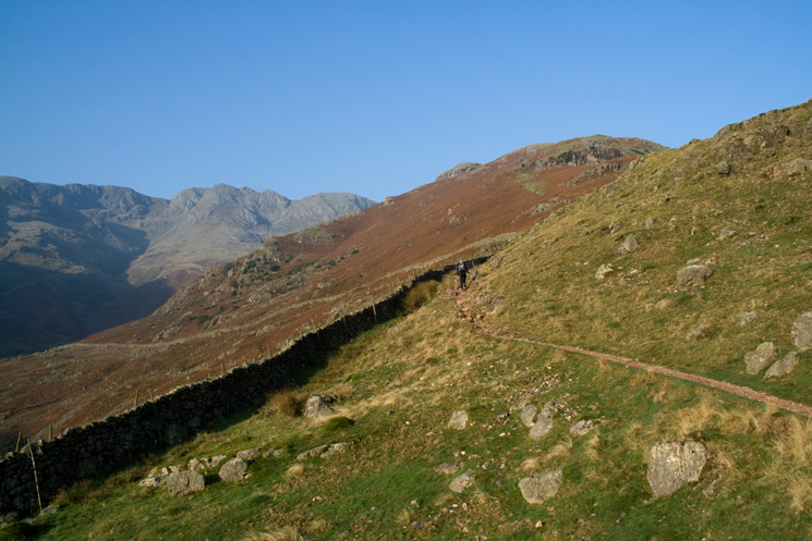 The start of The Band with Crinkle Crags on the left