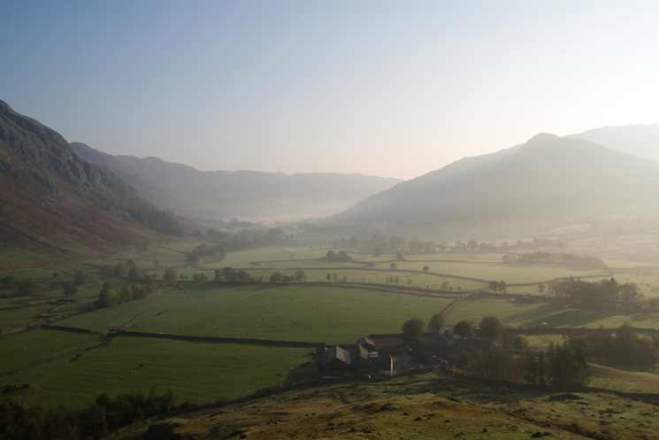 Stool End Farm and Great Langdale from near the bottom of The Band