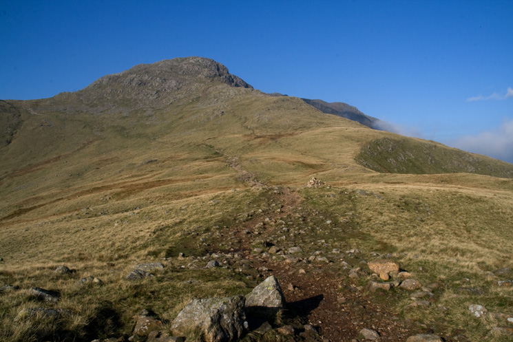 The Band with the main path leading to Three Tarns (left skyline)