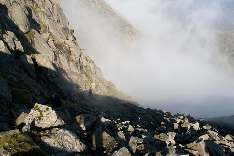 The scree slope by the side of the Great Slab