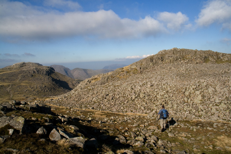 Heading across to Bowfell's north top (a Nuttall if you are ticking) with Esk Pike on the left