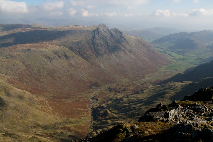 Mickleden and the Langdale Pikes from Bowfell's north top