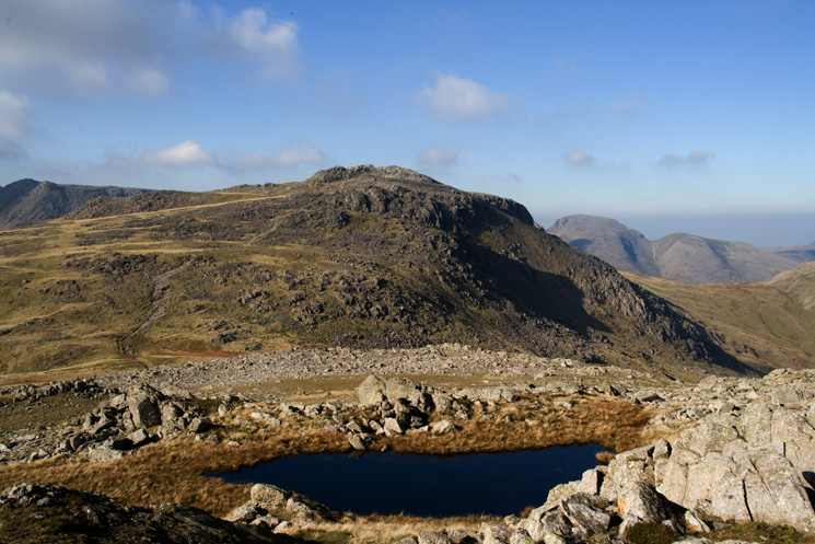 Esk Pike with Great Gable on the right from our descent to Ore Gap