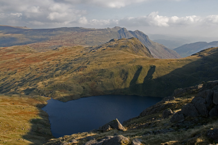 Angle Tarn and Rossett Pike with Langdale Pikes behind from our descent from Ore Gap