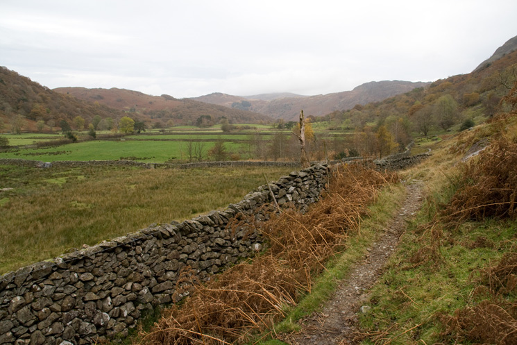 Looking down Borrowdale as we head along the Allerdale Ramble from Seathwaite