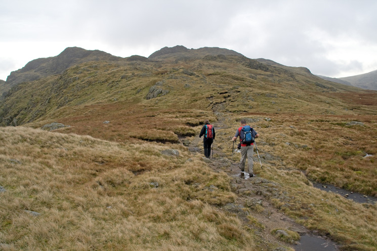 Heading for Glaramara's summit (the high point on the skyline just left of centre) with Comb Head on the left