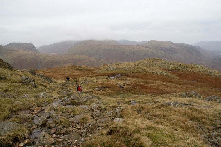 The north western fells with Honister Crag on the far left as we head for Glaramara's summit from Thornythwaite Fell