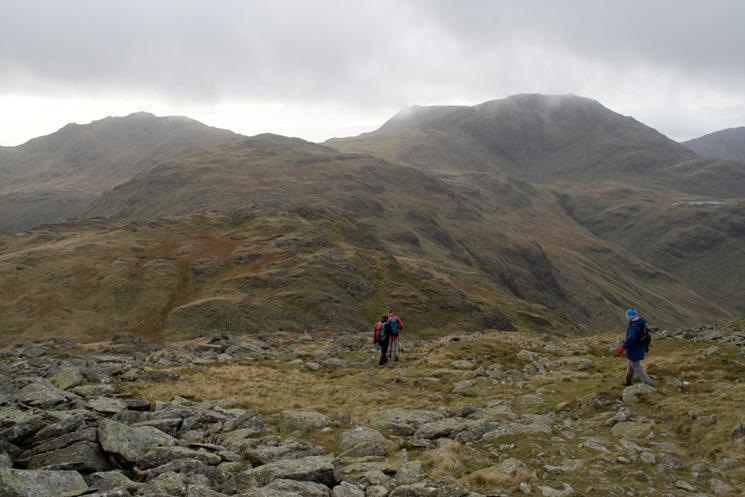 Heading for Allen Crags. Esk Pike left skyline and Great End right skyline