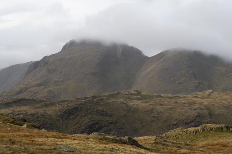 Great Gable and Green Gable with their tops in cloud
