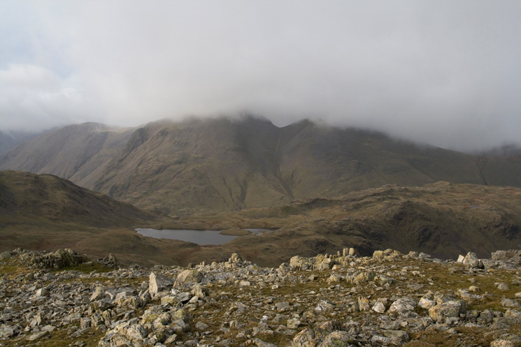 Looking over Sprinkling Tarn to Great Gable from Allen Crags summit