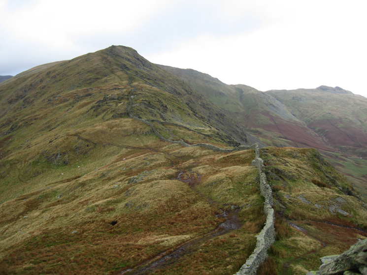 Looking back to High Pike from Low Pike's summit with Little Hart Crag on the right