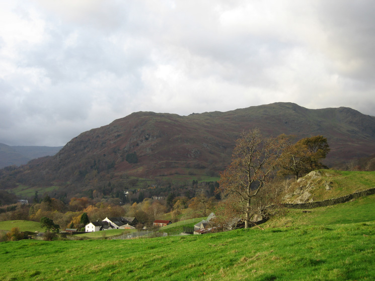 Nab Scar, Heron Pike and Erne Crag top seen over Nook End Farm