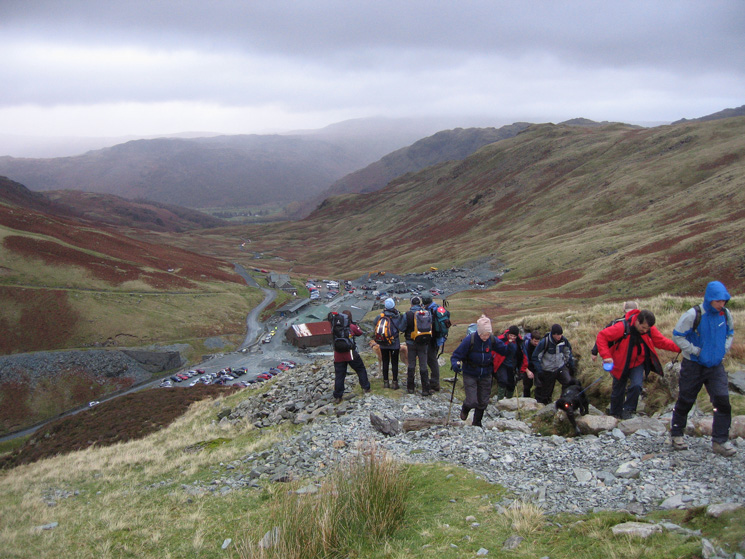 Setting off from Honister Pass at 8.15am, heading for Great Gable's summit