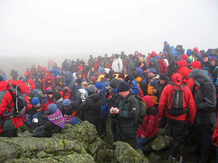 Just part of the crowd at Great Gable's summit from the service