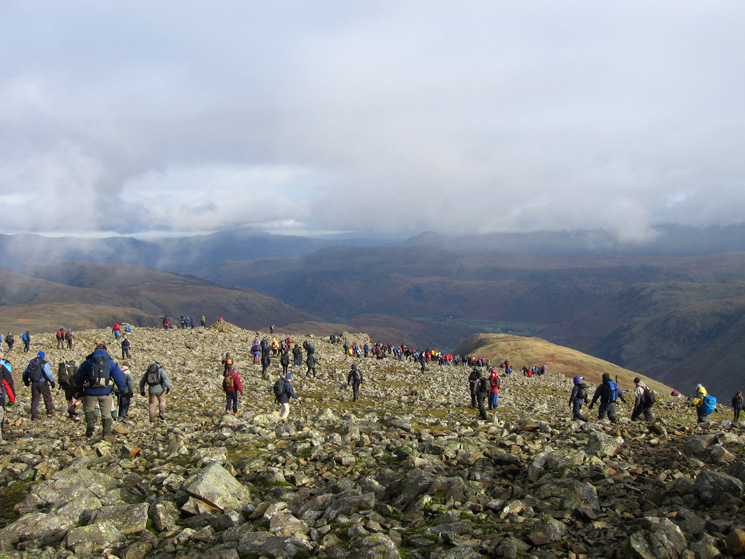 Walkers leaving the summit heading for Windy Gap