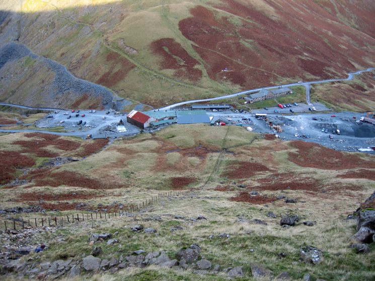 The mine buildings at Honister Pass from the steep descent by the fence off Grey Knotts