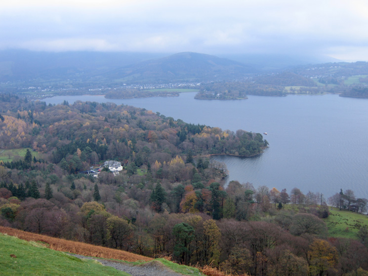 Derwent Water from above Hawes End on the ascent of Skelgill Bank