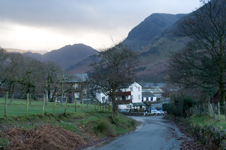Haystacks and High Crag seen over the Bridge Hotel, Buttermere village