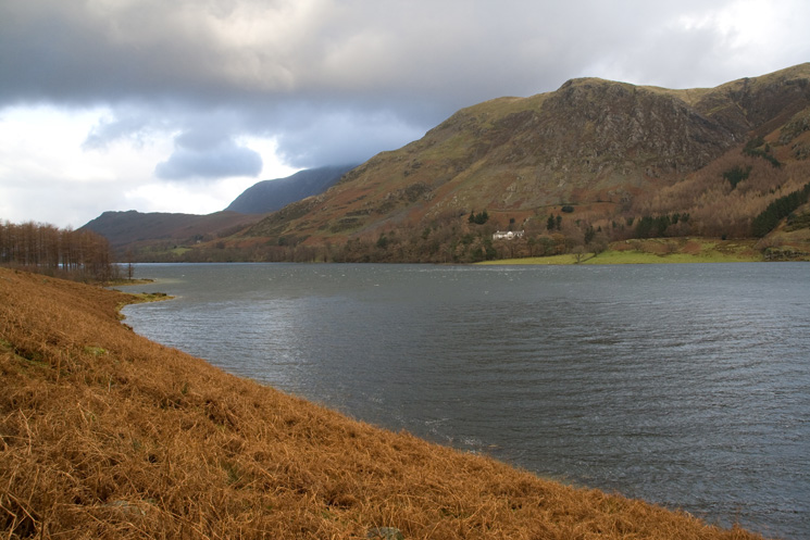 Looking back down Buttermere with Goat Crag above Hassness on the far side