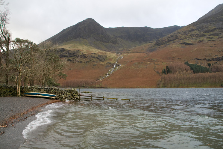 Looking across Buttermere to High Crag and Burtness Comb