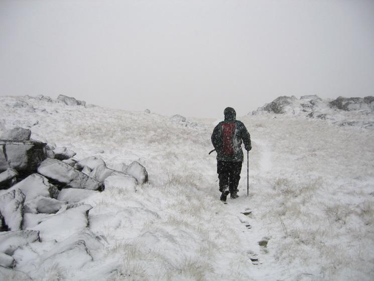 Leaving the summit heading north