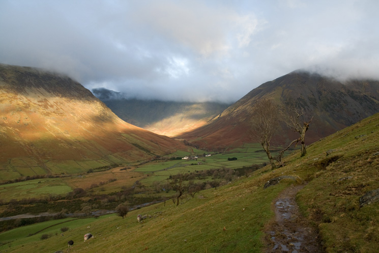 Looking back to Wasdale Head from the path that climbs round the flanks of Lingmell to Lingmell Gill and the Brown Tongue route