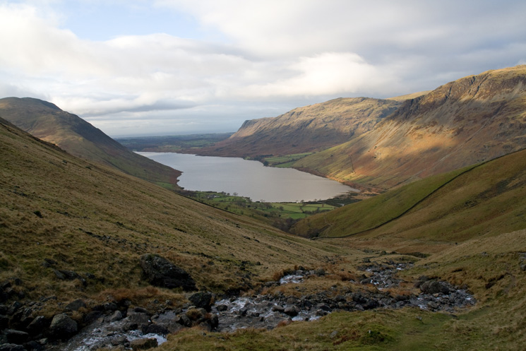 Wast Water with Buckbarrow and Middle Fell in sunshine