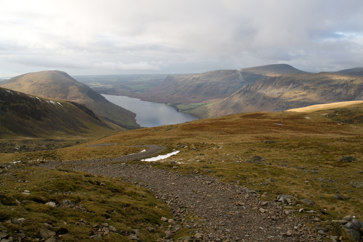 Illgill Head, Wastwater, Middle Fell and Seatallan from the new(ish) path up to Lingmell Col