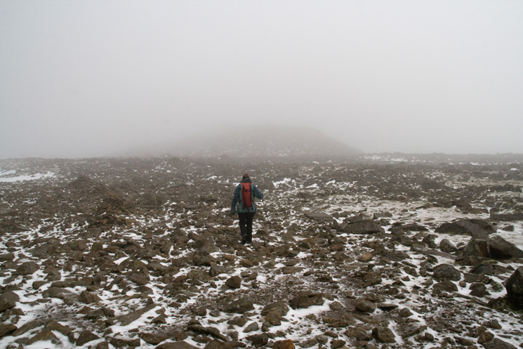 Scafell Pike's summit almost in view
