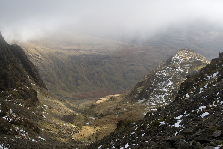 Looking down Little Narrowcove from Broad Crag Col, the peak on the right is Pen